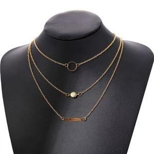 3 Strand Layer Necklace Choker Bar Circle